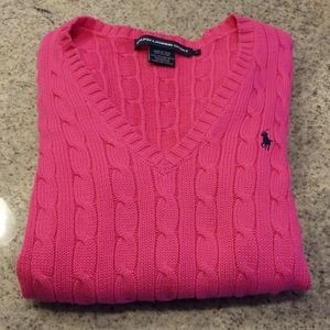 Pink Ralph Lauren Sport V-neck sweater!
